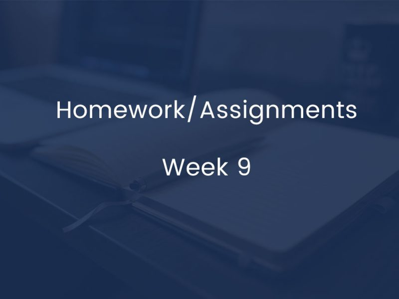 Homework/Assignments - Week 8